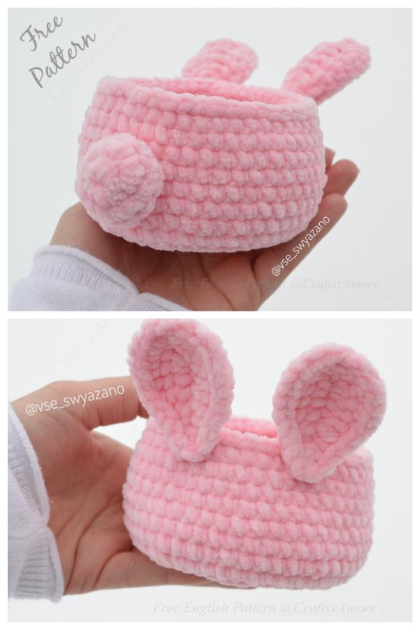 Velvet Mini Easter Bunny Basket Free Crochet Pattern