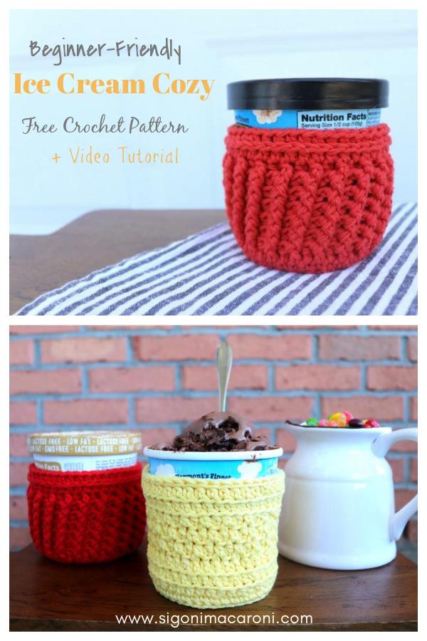 Beginner-Friendly Ice Cream Cozy Free Crochet Pattern and Video Tutorial