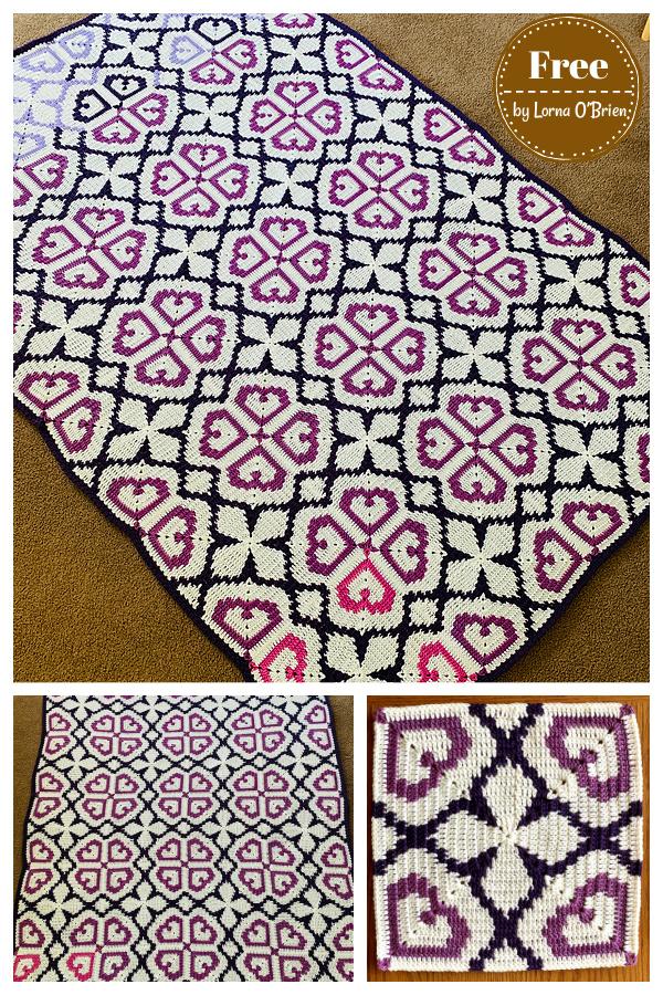 Bold Hearts Tapestry Square Blanket Crochet Pattern