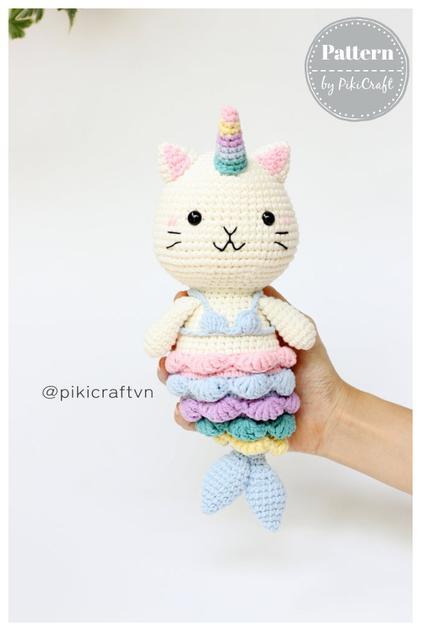 Cat Mermaid Unicorn Amigurumi Crochet Pattern