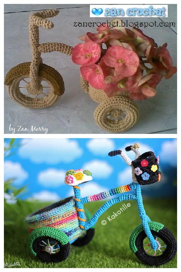 Cute Bicycle Flower Vase Free Crochet Pattern