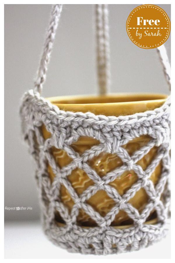 Flower Pot Hanging Basket Free Crochet Pattern