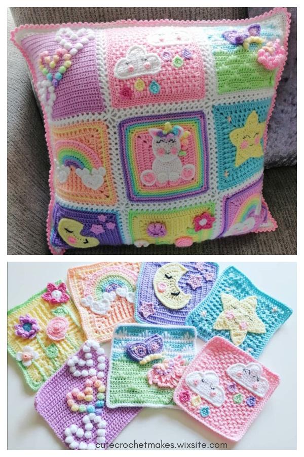 Granny Squares Unicorn Dreams Cushion Crochet Pattern