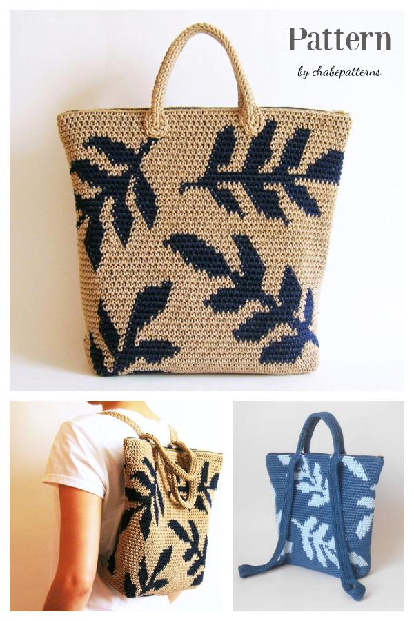 Leaves Tapestry Backpack Crochet Pattern