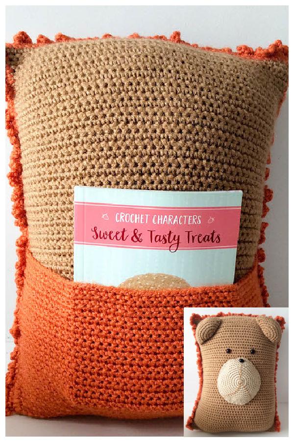 Lion Pocket Pillow Free Crochet Pattern