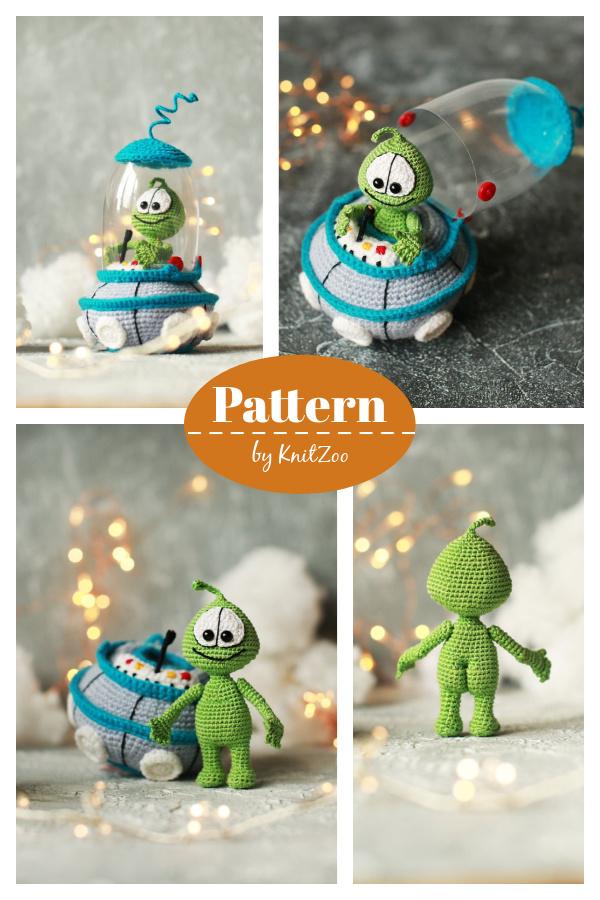 Martian toy Baby Alien and UFO crochet Pattern