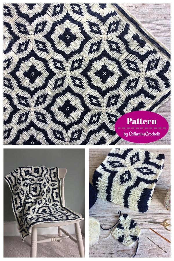 Midnight Diamond Tapestry square Blanket Crochet Pattern