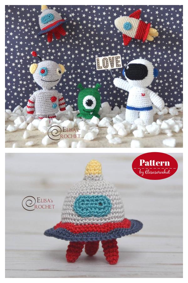 Outer Space Amigurumi Collection Astronaut Robot Alien UFO Rocket Crochet Pattern