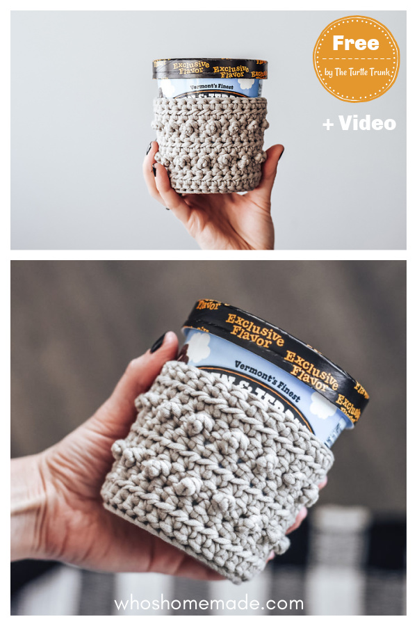 Picot Ice Cream Pint Holder Free Crochet Pattern and Video Tutorial