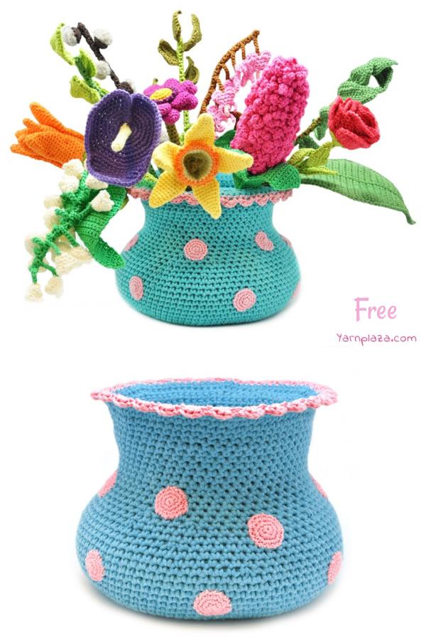 Polkadot Flower Vase Free Crochet Pattern
