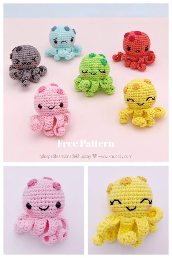 The color Mini Octopus Amigurumi Free Crochet Pattern