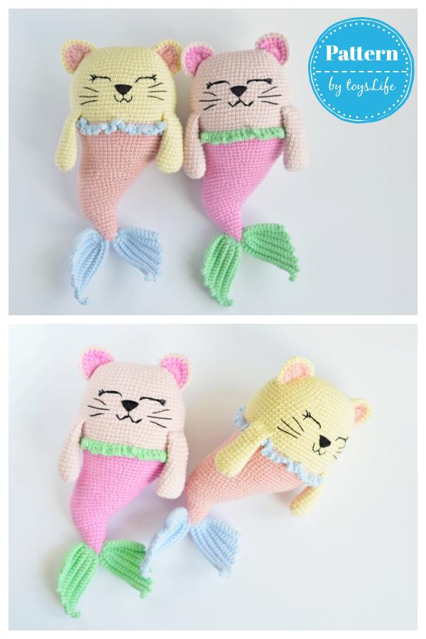Toy Mermaid Cat Amigurumi Crochet Pattern
