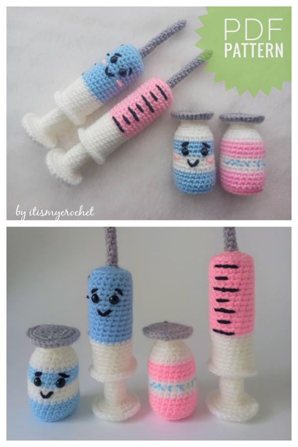 Vaccine Syringe Plush Amigurumi Crochet Pattern