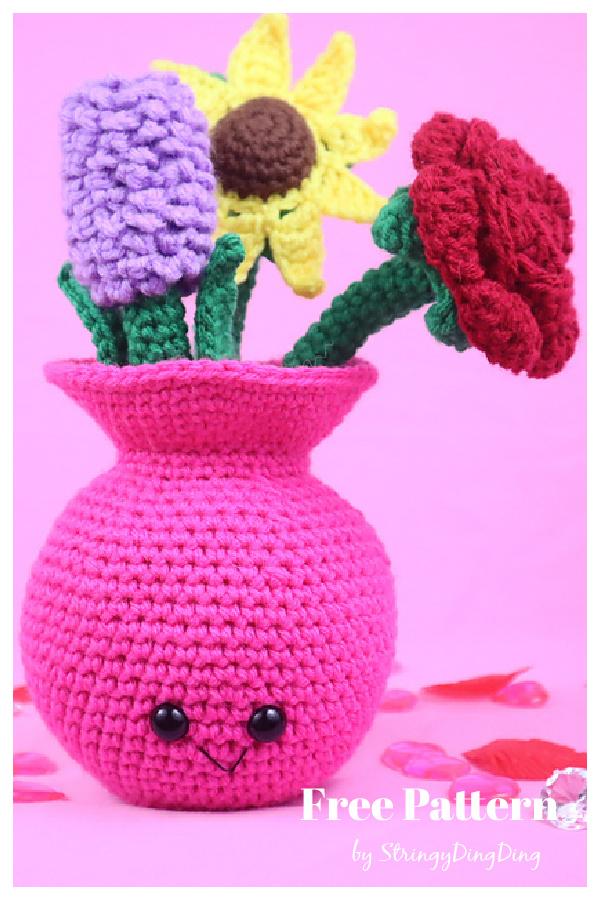 Vase of Flowers Amigurumi Free Crochet Pattern