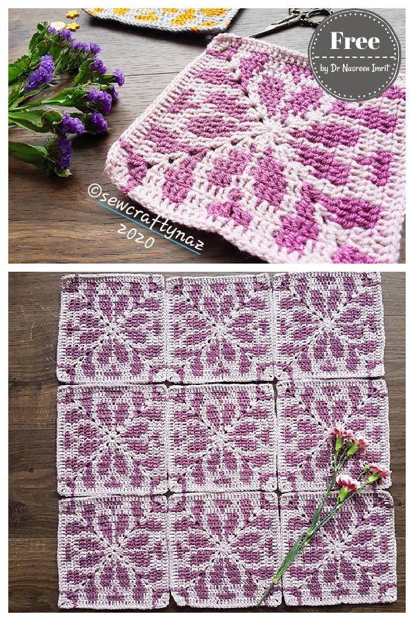 Wild Jasmine Tapestry Square Blanket Free Crochet Pattern