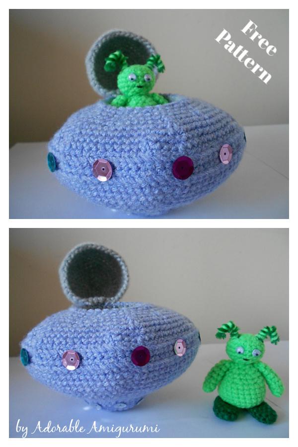 Zaon the Alien & UFO Space Ship Free Crochet Pattern