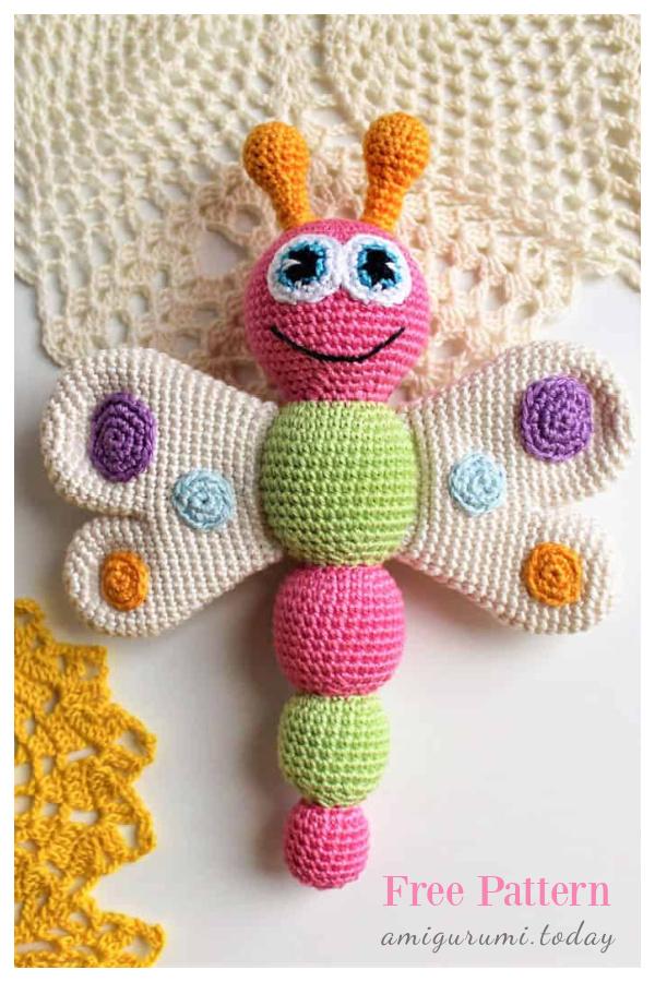 Amigurumi Butterfly Baby Rattle Free Crochet Pattern