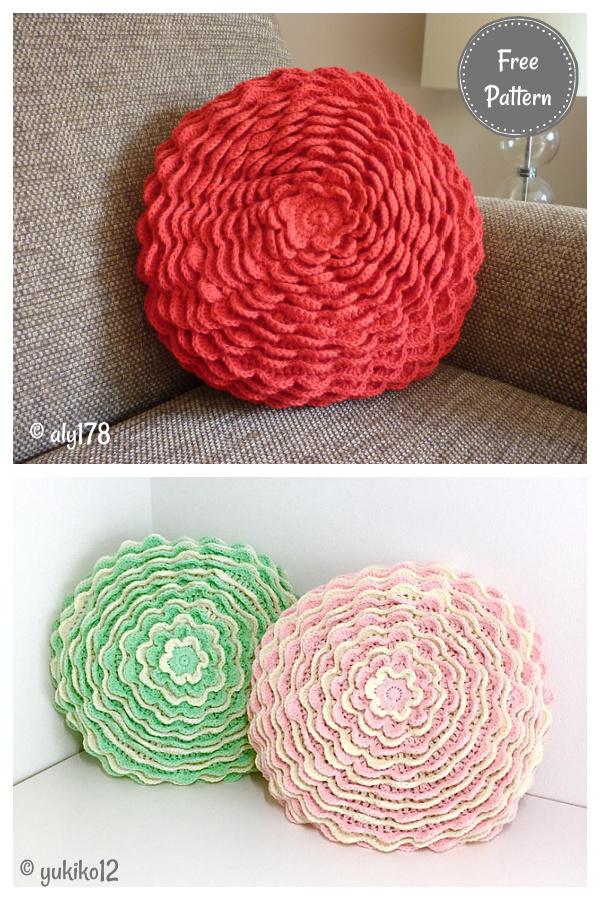 Blooming Flower Cushion Free Crochet Pattern