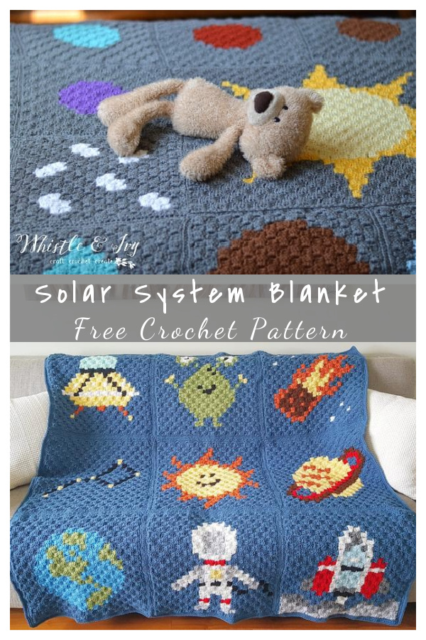 C2C Solar System Blanket Free Crochet Pattern