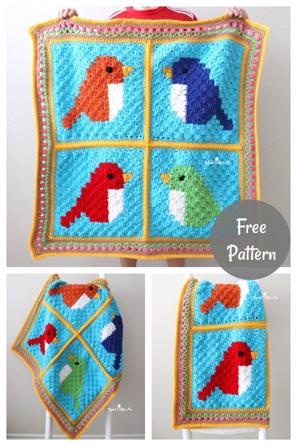 C2C Square Bird Blanket Free Crochet Pattern