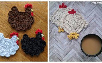 Chicken Coasters Free Crochet Pattern