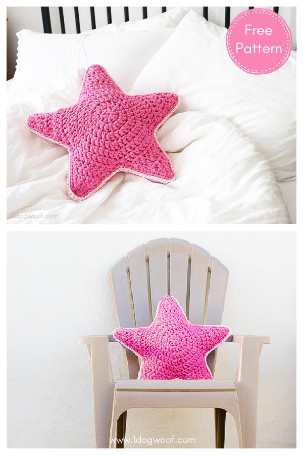 Chunky Fabric Yarn Star Pillow Free Crochet Pattern