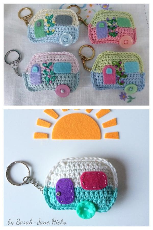Cute Caravan Keychain Free Crochet Pattern