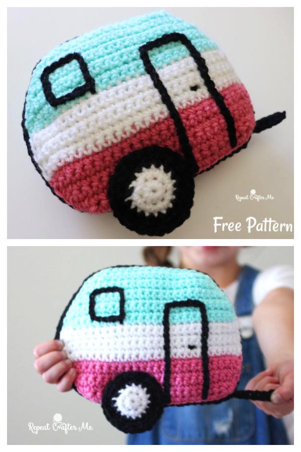Cute Caravan Pillow Free Crochet Pattern