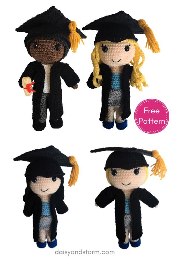 Graduation Dolls Amigurumi Free Crochet Pattern