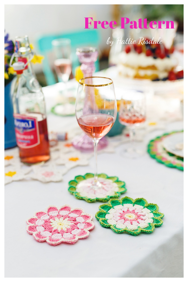 Pretty Petals Mandala Coaster Free Crochet Pattern