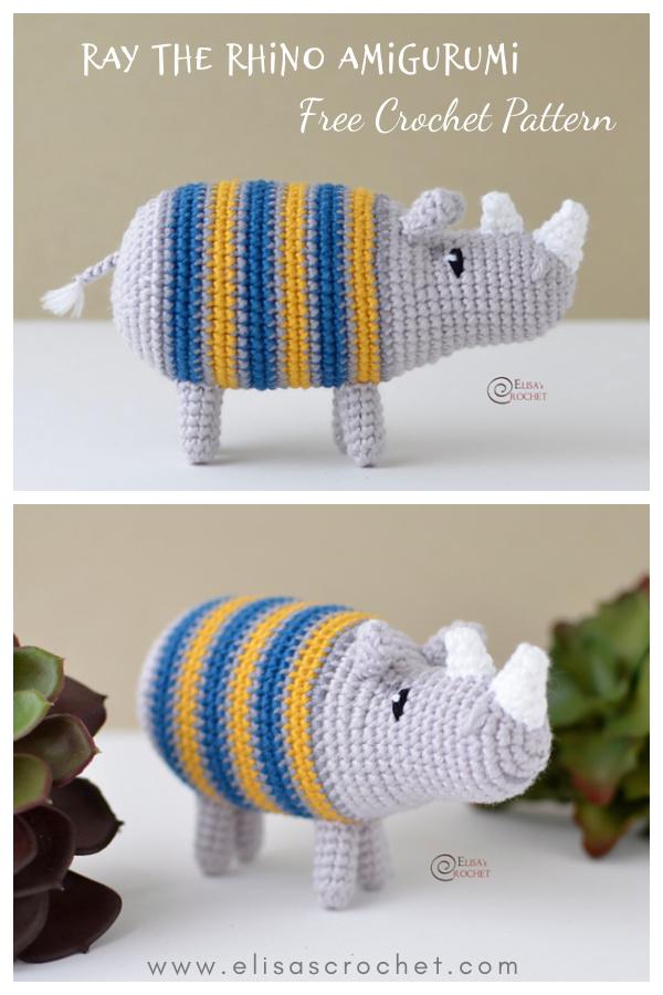 RAY the Rhino Amigurumi Free Crochet Pattern