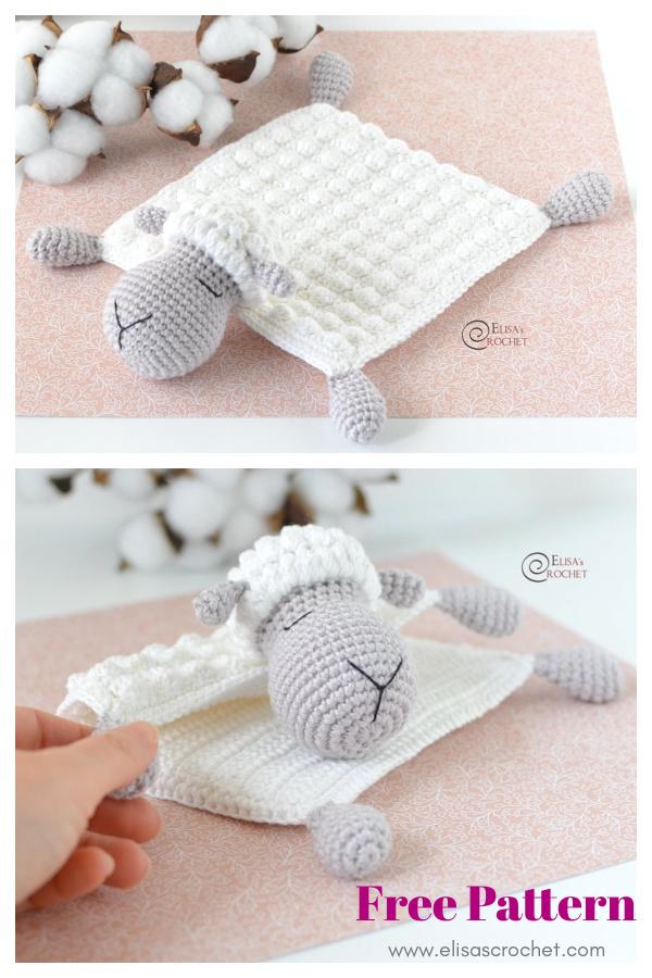 Sheep Security Blanket Free Crochet Pattern