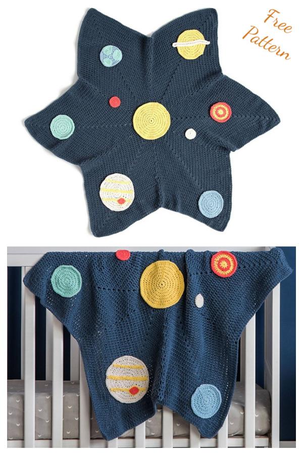 Solar System Baby Blanket Free Crochet Pattern