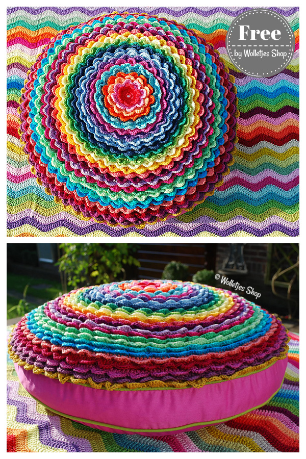 Sunflower Circle Block Cushion Cover Free Crochet Pattern