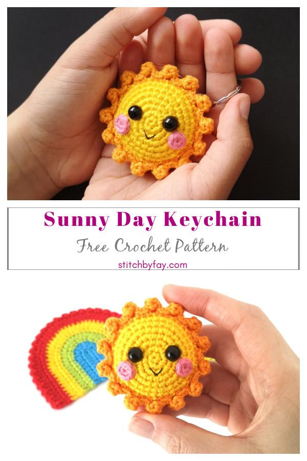 Padrão de crochê grátis para chaveiro de dia ensolarado