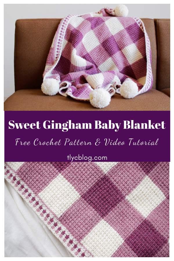 Sweet Gingham Baby Blanket Free Crochet Pattern and Video Tutorial
