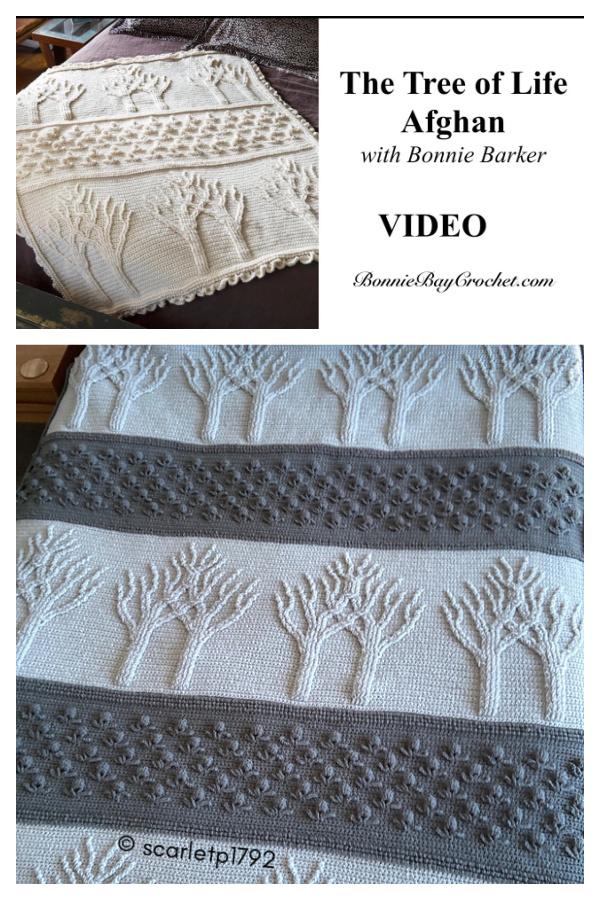 Tree of Life Afghan Blanket grátis padrão de crochê e vídeo tutorial
