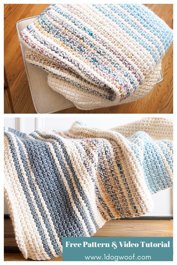 Tunisian Stitch Daydream Blanket Free Crochet Pattern and Video Tutorial