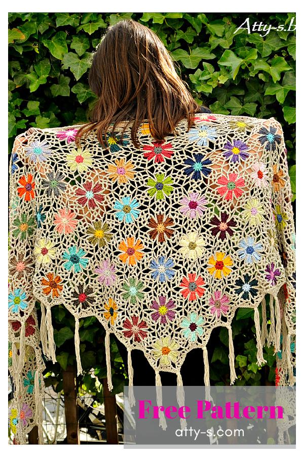 Catona Flower Shawl Free Crochet Pattern