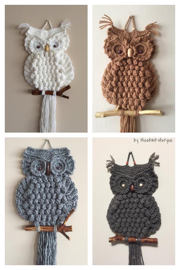 Crochet Macrame Owl Suspensão de Parede