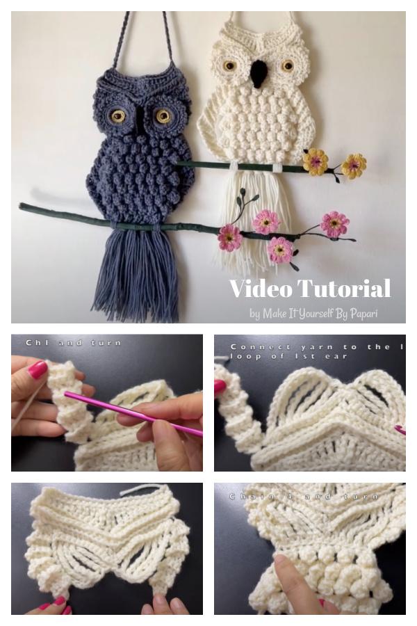 Tutorial em vídeo sobre suspensão de parede em coruja com macramé de crochê