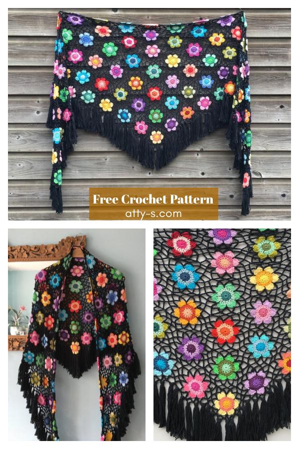 Flower Motif Lace Shawl Free Crochet Pattern