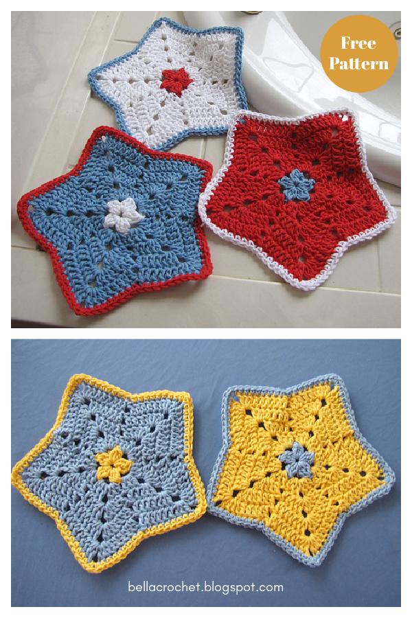 Pano de prato Little Star ou pano de lavagem sem padrão de crochê