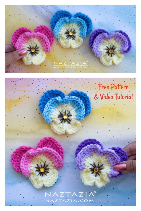 Pansy Flower Free Crochet Pattern and Video Tutorial
