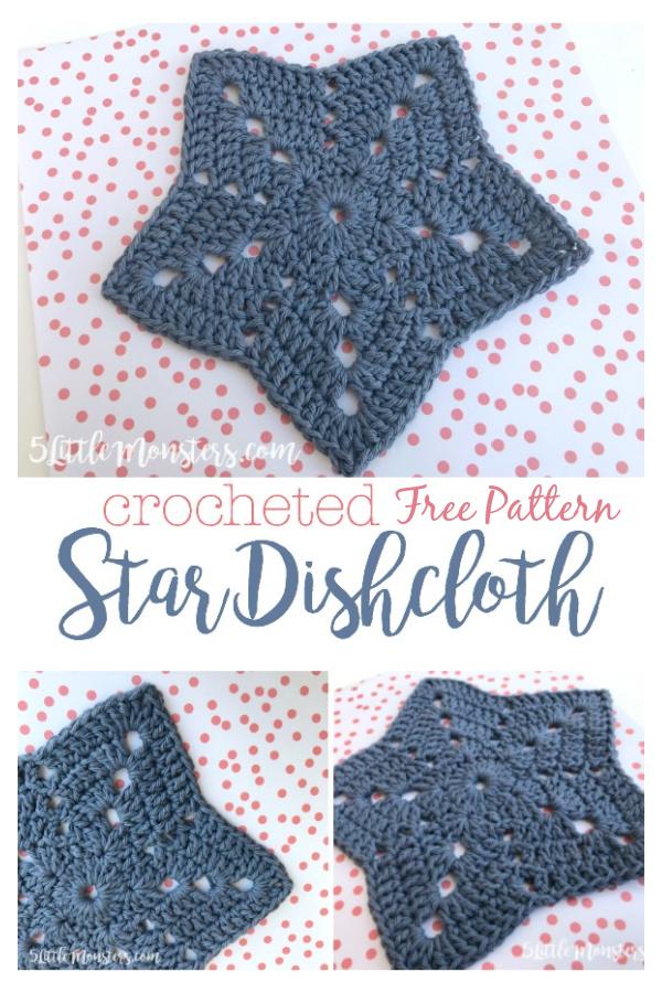 Padrão estrela de crochê sem pano de cozinha