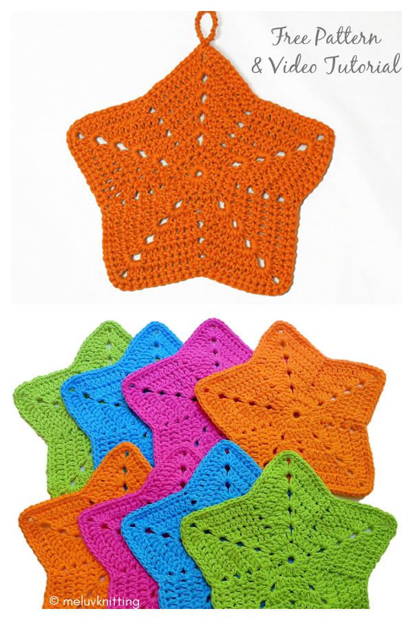 Padrão de crochê Starfish Washcloth grátis