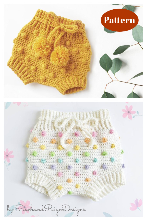 Bobble Stitch High Waisted Baby Bloomer Shorts Crochet Pattern