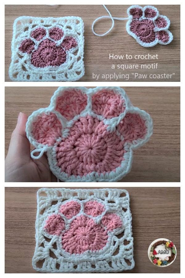 Crochet Paw Print Square Motif Video Tutorial