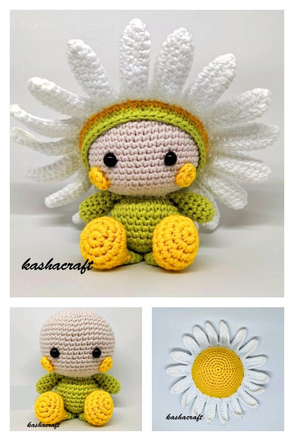 Daisy Flower Doll Crochet Pattern and Video Tutorial