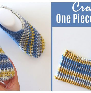 Easy One Piece Slippers Free Crochet Pattern